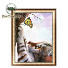 FineTime 5D Animal Butterfly & Cat DIY Diamond Painting Partial Round Drill Diamond Embroidery Mosaic Cross Stitch finetime cute cat 5d diy diamond painting partial round drill diamond embroidery animal cross stitch