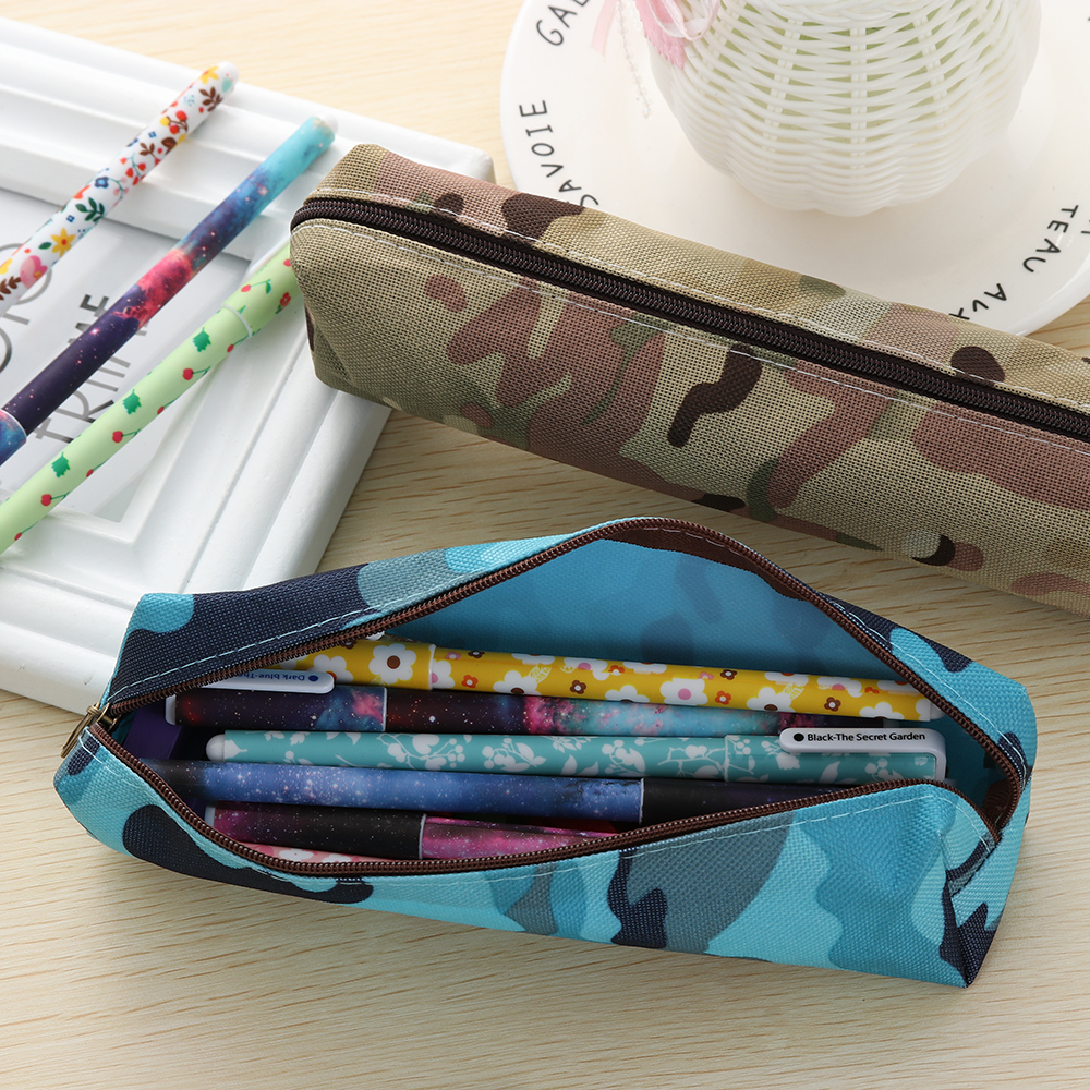 3f68cfcc21 1PC Canvas Camouflage Pencil Case Pencil Bag School Stationery Supplies Makeup  Bags Zipper Pouch Pen Holders