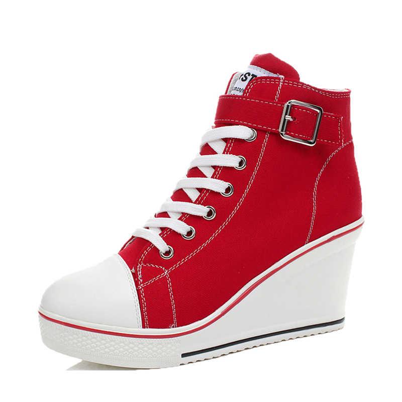 Heighten 8 cm Plattform Keile Schuhe Frau Leinwand Runde Kappe Seitlichem Casual Fashion Retro Büro Dame Marke Design Hohe qualität
