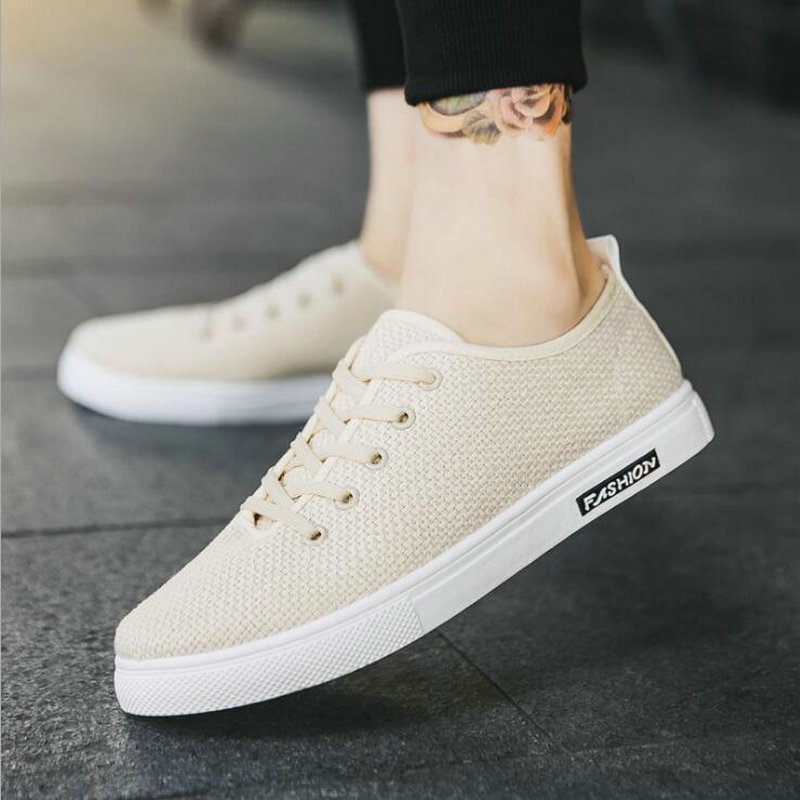 Male Canvas Shoes Lace-up Flat Shoes Zapatos Hombre Men Hemp Linen Casual Shoes Breathable Shoes Comfortable Sneakers LF-28 pathfinder men s vulcanize shoes men leather high style casual retro comfortable flat shoes breathable male calzado hombre