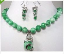 beautiful color green jade dragon pendant necklace earring set^^@^18K GP style Fine jewe Noble Natural jade FREE SHIPPING