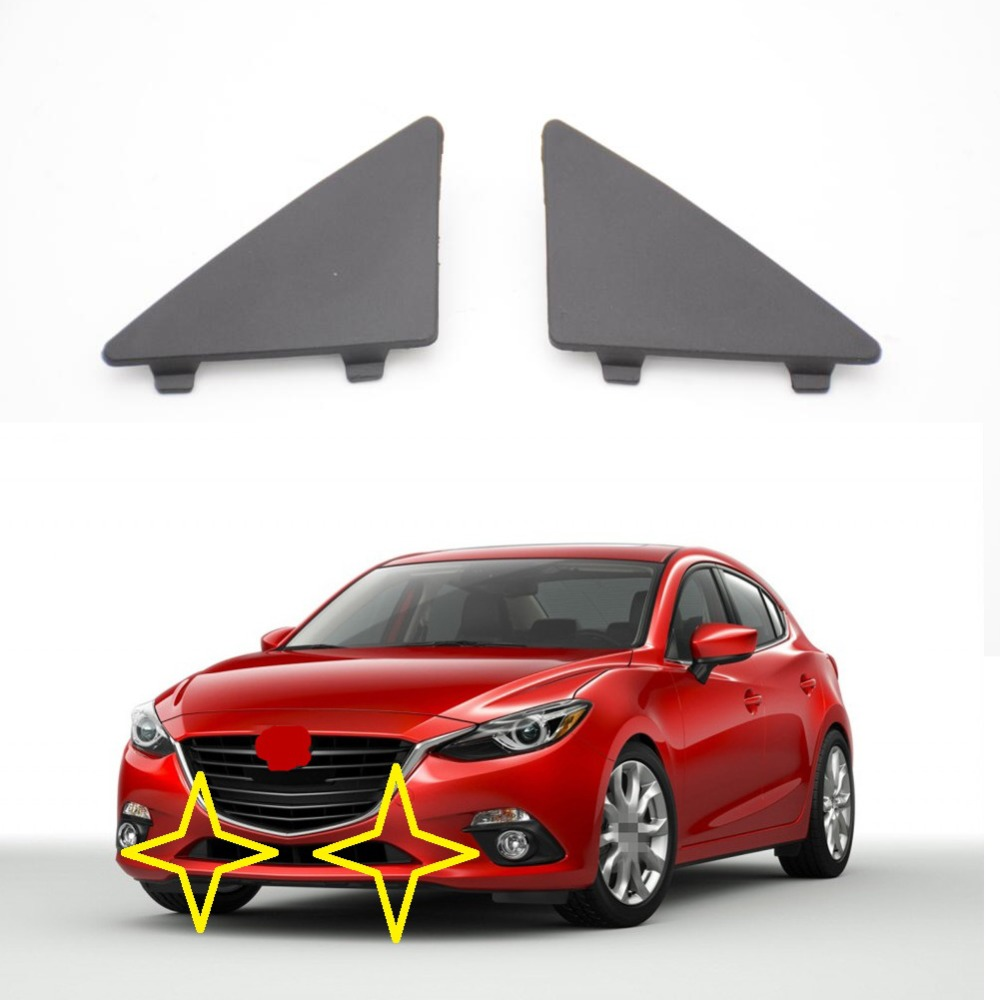 1 Pair BHN1-50-101/02 Triangle Trim Covers Front Lower Bumper Triangle Trim Caps for MAZDA 3 AXELA 2014-2017