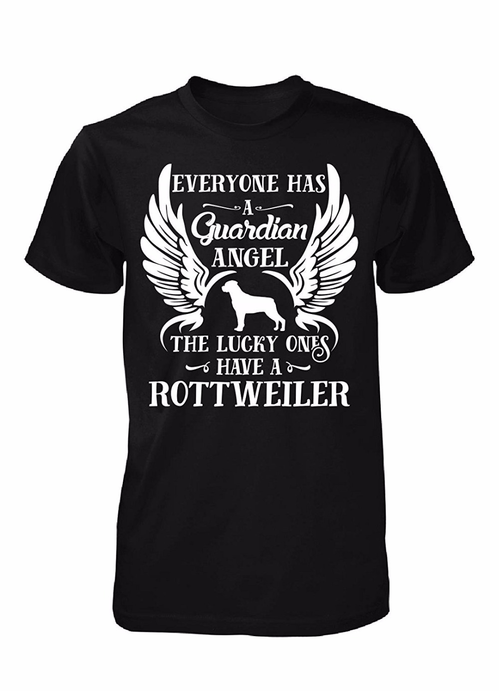 2017 Mens Fashion O-Neck Casual Tees My Guardian Angel Is A Rottweiler Dog Cool Gift Customize Tee Shirts Cool T-Shirts