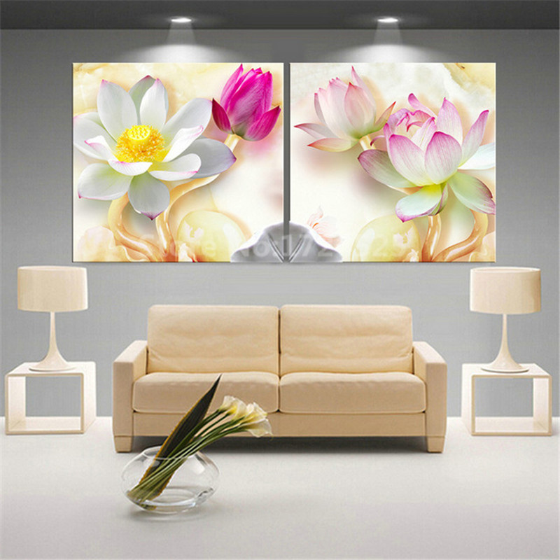 Cheap Price Unframed 2 Pcs Modern Abstract 3d White Lotus Pictures Wall Art Home Decor For