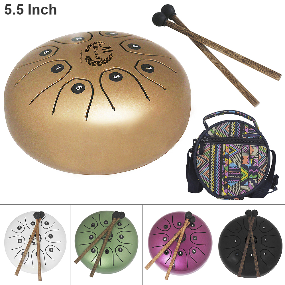5.5 Inch Hand Size Tongue Drum with C D E F G A B C 8 Notes children instrument with Bag and Drum Stick 5 Colors Optional jian ma stick out your tongue