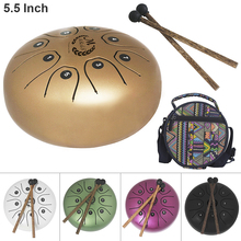 лучшая цена 5.5 Inch Hand Size Tongue Drum with C D E F G A B C 8 Notes children instrument with Bag and Drum Stick 5 Colors Optional