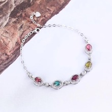 gemstone fine jewelry 2019 new-designed trendy  925 sterling silver natural colorful tourmaline bangle bracelet for female