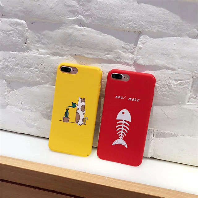 new styles 7b7cd 4fa46 Lovely Animal Sou/Mate Fundas Cute Cat Bone Pattern Red Yellow Phone Cover  Cases For iPhone 7 7 Plus Back Capa Protective Coque-in Fitted Cases from  ...