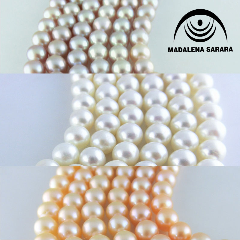 MADALENA SARARA AAA Freshwater Pearl Genuine Natural Pearl Pink White Purple 8 9mm For DIY Jewelry Making 18 quot in Choker Necklaces from Jewelry amp Accessories