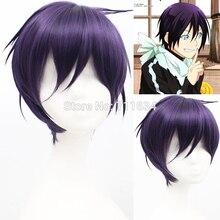 Парик для косплея с короткими синтетическими волосами в стиле аниме, черный, фиолетовый, норагами, Ято + шапочка для парика