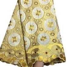 Желтое высококачественное хлопковое сухое кружево для женщин и мужчин швейцарская вуаль с камнем швейцарская вуаль кружево в швейцарском NA8-1