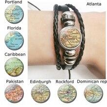 Portland Map Black Beather Bracelet , Handmade Glass Cabochon Florida Caribbean Pakistan World Map Braceletet Fashion Jewelry asian black bear ursus thibetanus in kohistan pakistan