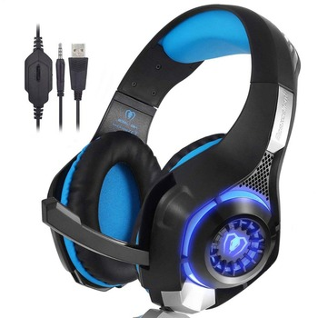Beexcellent Stereo Gaming Headset for PS4 Xbox One PC Laptop Surround Sound Over-Ear Headphones with Mic LED Light for Gamer