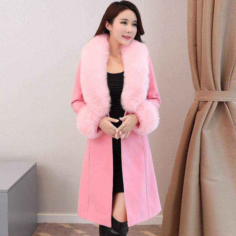 B nouveau 2019 Automne Et D'hiver manteau femmes De Laine femelle de survêtement mince moyen-long grand col de fourrure manteau de laine et veste
