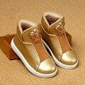 2016 новый весенняя мода Британский стиль Дети Детская обувь Мальчиков и Девочек обувь золотой помочь верха обуви кроссовки спортивные сапоги Работать