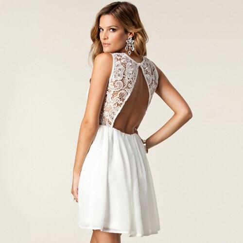 Backless robes sexy dentelle blanche mini robe dos nu en mousseline de soie sans manches casual - Robe dentelle dos nu ...