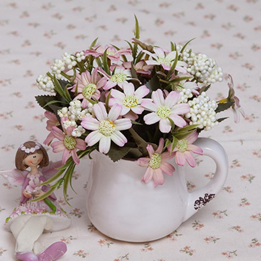 Artistic Artificial Oil Chrysanthemum Silk Flower Bouquet Fake Daisy