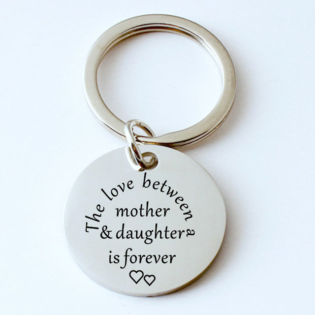 The love between mother daughter is forever Writing engraved keychain  stainless steel jewelry women men mother s gift c4daf1dcc9