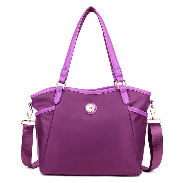 Женщины марка европейский винтаж фиолетовый плечо сумка женская повседневная водонепроницаемый нейлон сумки классический черный сумка почтальона сумочки сумка