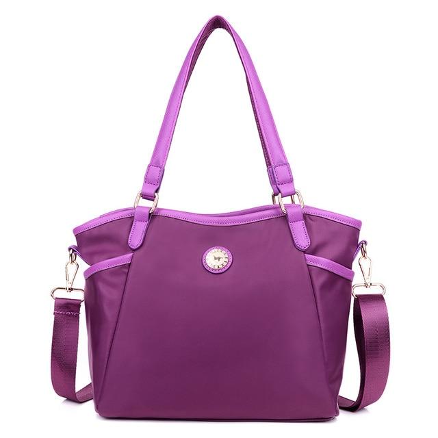 Women brand european vintage purple shoulder bag ladies casual waterproof nylon handbag classic black messenger bags Tote bag