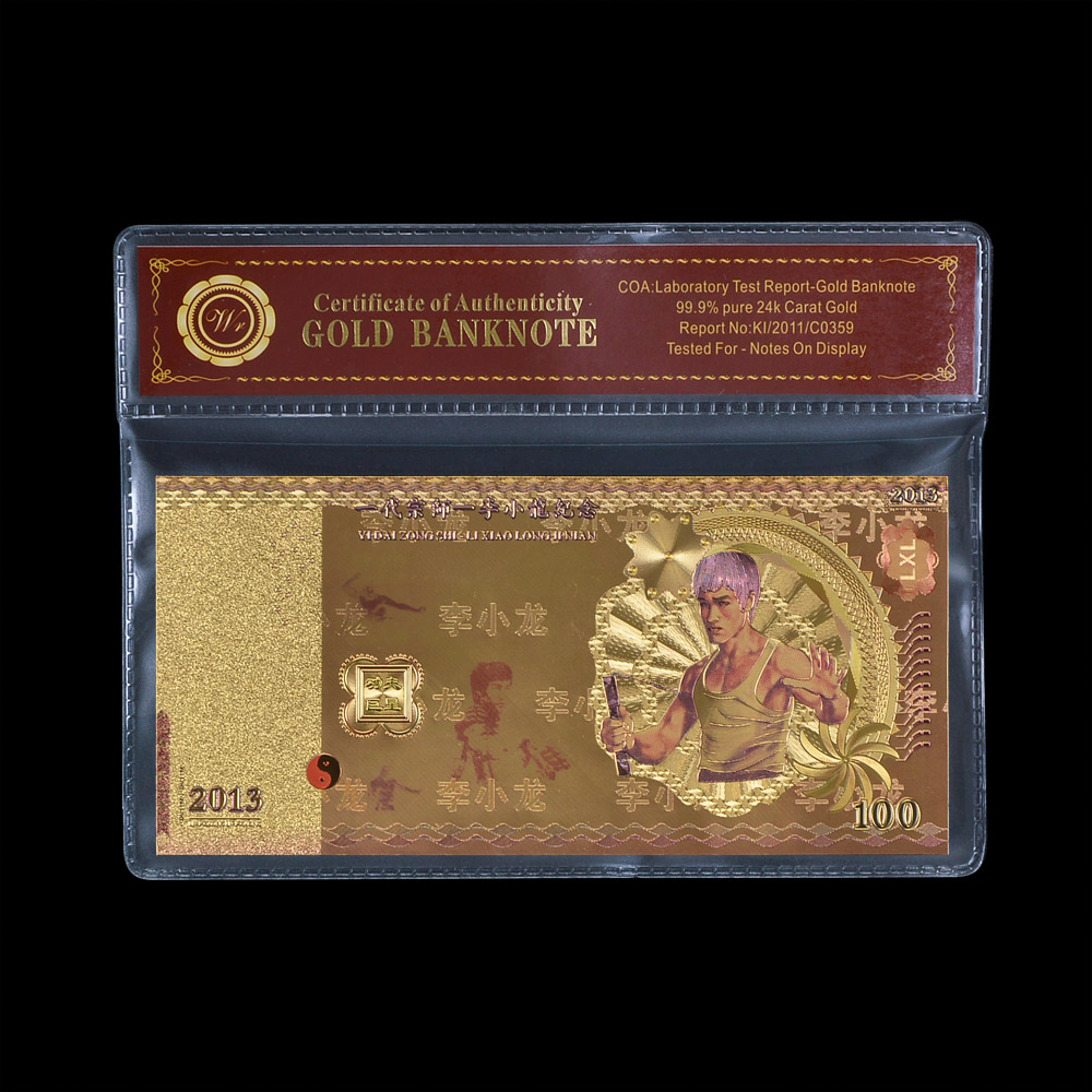 Hot New Metal Gold Banknote Bruce Lee 100 Fancy Gold Billetes de papel de color dorado para la colección Value con marco VOA