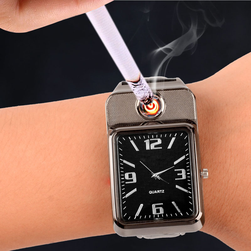 2019 New Flameless Rechargeable USB Cigarette Lighter Watches relogio masculino Clock Lighter Men's Quartz Wristwatch kol saati