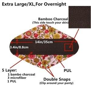 Image 4 - [Sigzagor]XS S M L XL Cloth Menstrual Pad Mama Cloth Sanitary Bamboo Charcoal Reusable Washable Panty Liner Regular Overnight