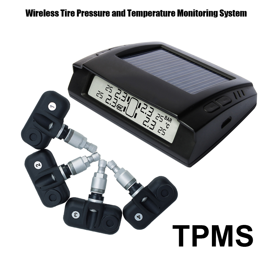 Solar Power Wireless Tire Pressure Monitoring System Car TPMS with 4pcs Internal sensor