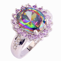 Wholesale Mystic Rainbow Topaz & White Sapphire 925 Silver Ring Size 6 7 8 9 10 Women Bridal Wedding Engagement Free Shipping