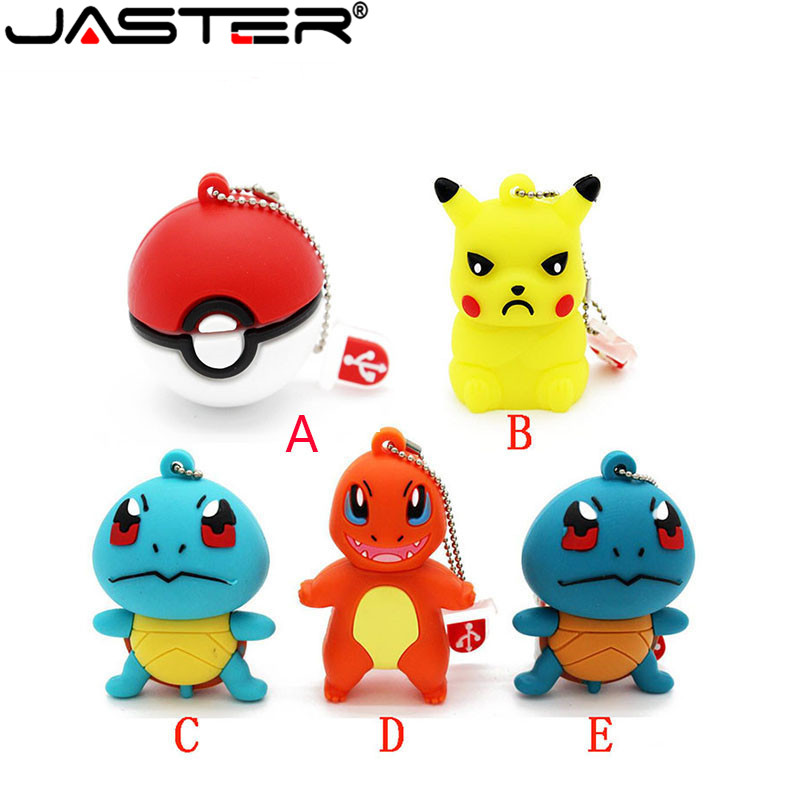 Disciplined Jaster Pokemon Pikachu Pendrive 4gb 8gb 16gb 32gb Keychain Cartoon Squirtle Charizard Usb Flash Drive Pendriver Memory Card Gift Computer & Office Usb Flash Drives