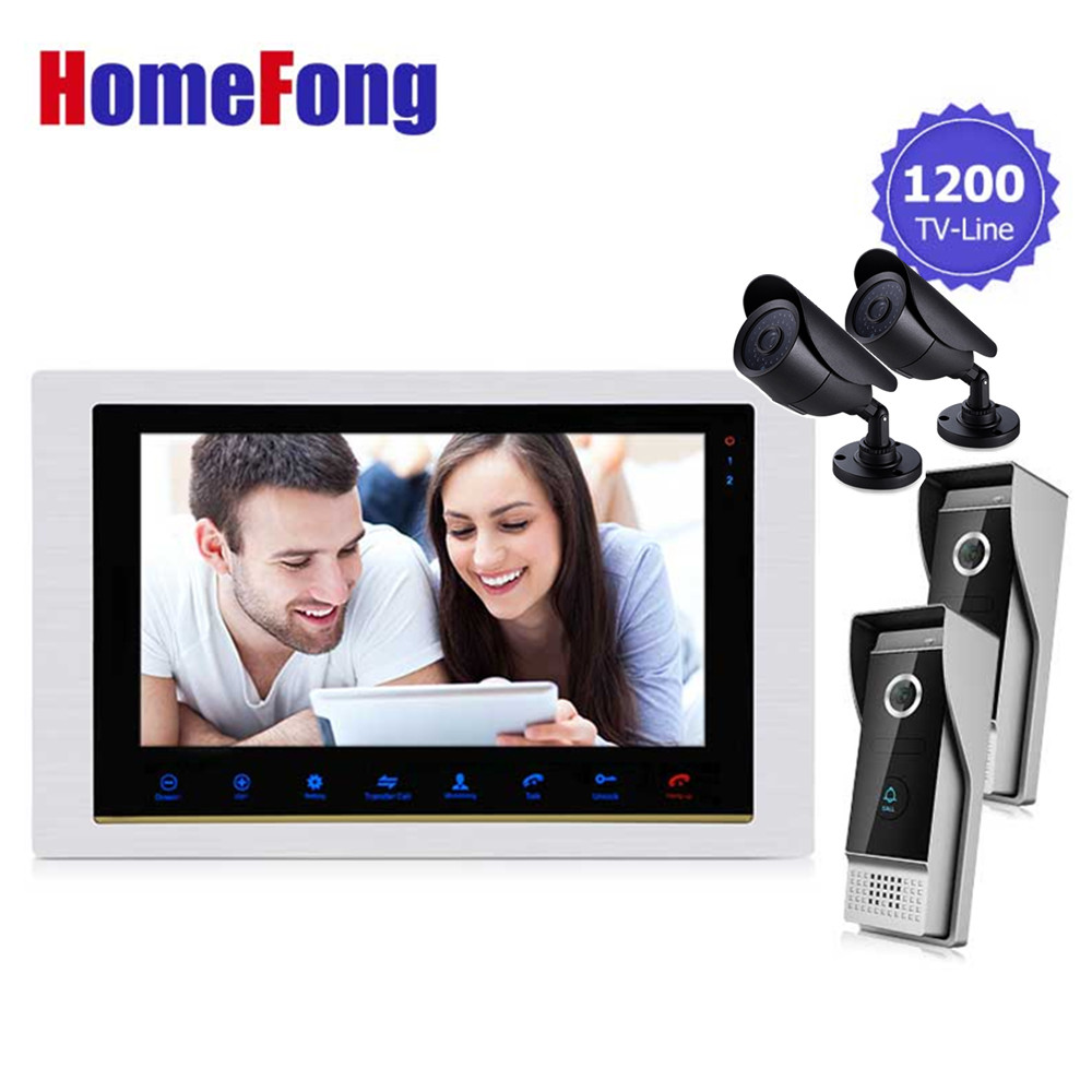 Homefong 10.1 Inch Video Door Phone Doorbell Intercom Kit 2 Doorbell Camera+2 CCTV Camera+1 monitor Night Vision door intercom video cam doorbell door bell with 4 inch tft color monitor 1200tvl camera