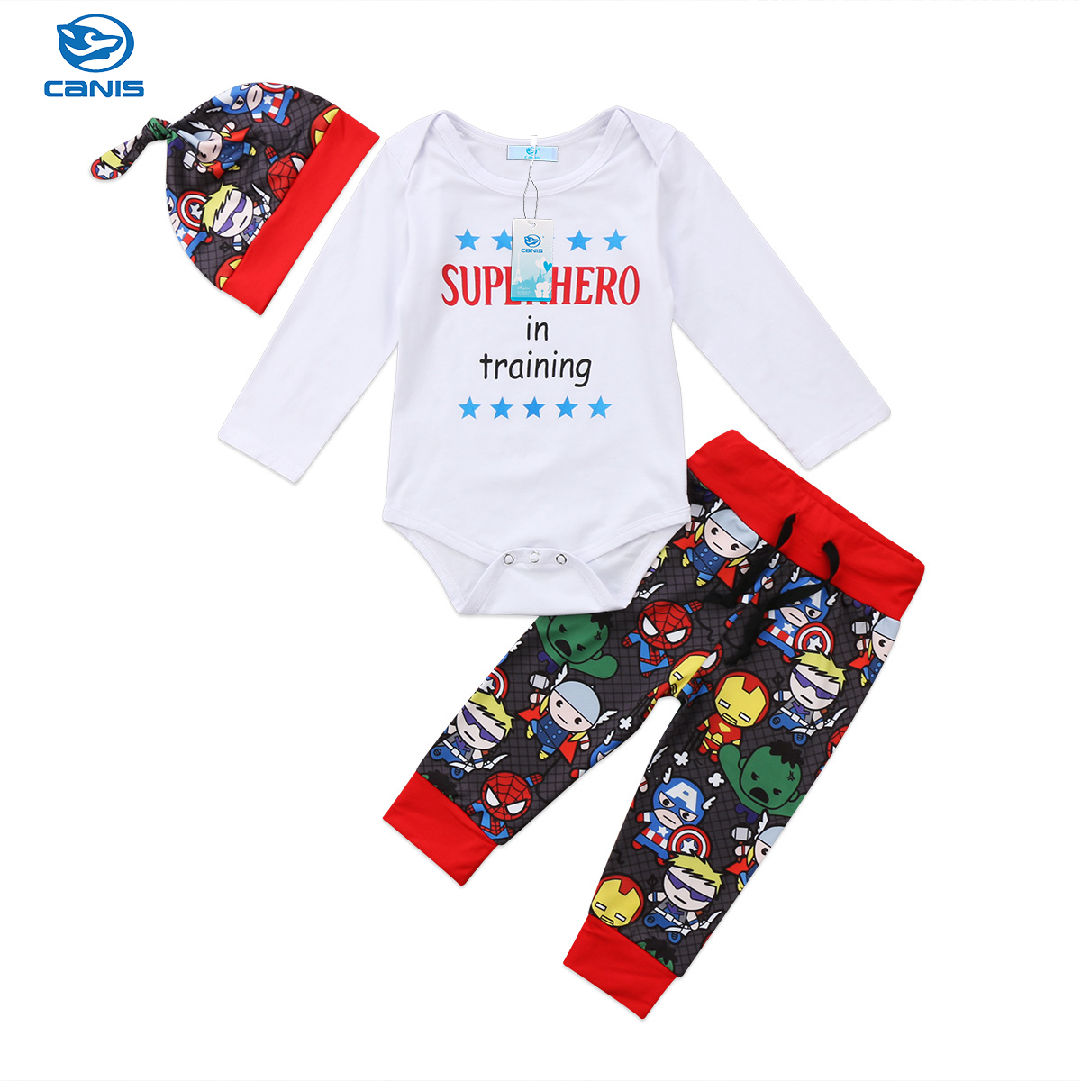 Canis Toddler Baby Boys Romper Bodysuit Pants Leggings Hat Outfits Clothes Set