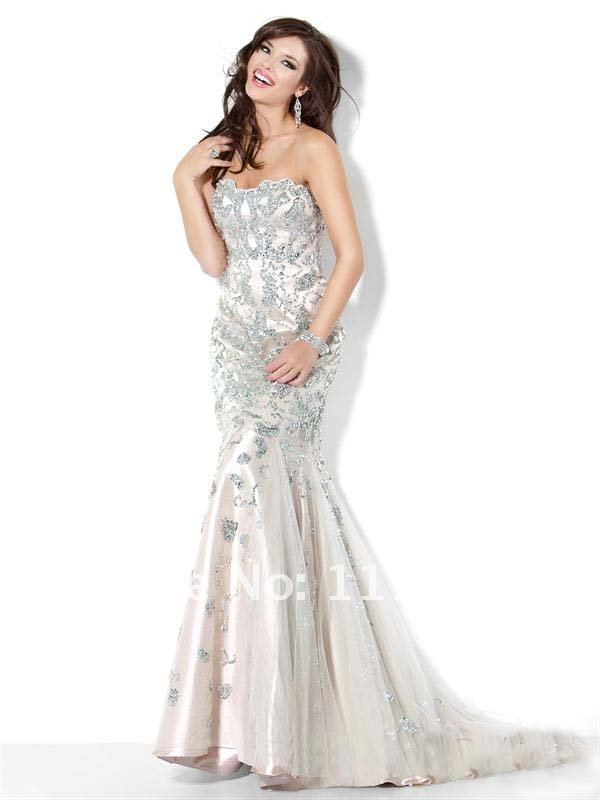 Aliexpress.com : Buy 2012 Sexy Brilliant Strapless Mermaid PROM ...