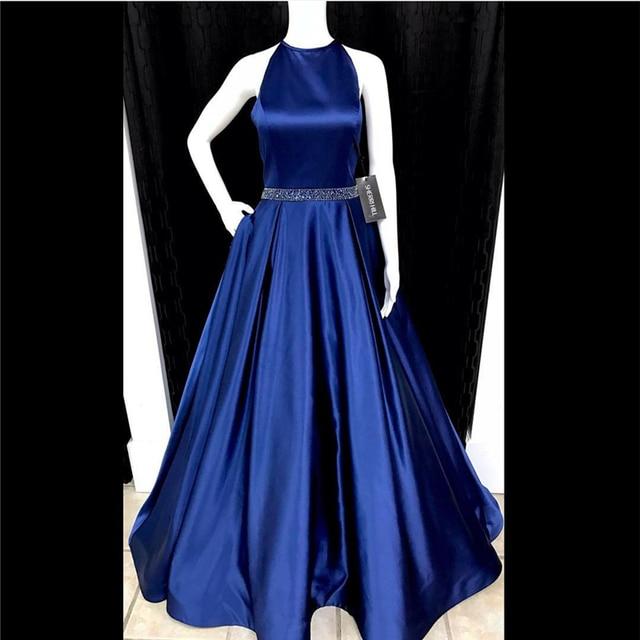 7ac69c4311 Largos vestidos de graduacion o-cuello piso-longitud prom dress a-line por