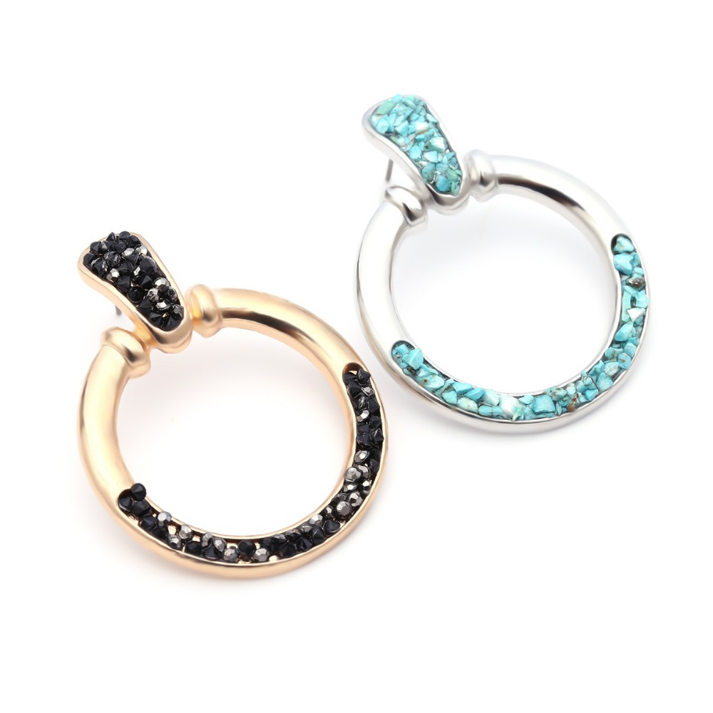Hot sell Punk style Gold color and silver circle creole earrings Stainless Steel Big Round wives Hoop Earrings gifts for women