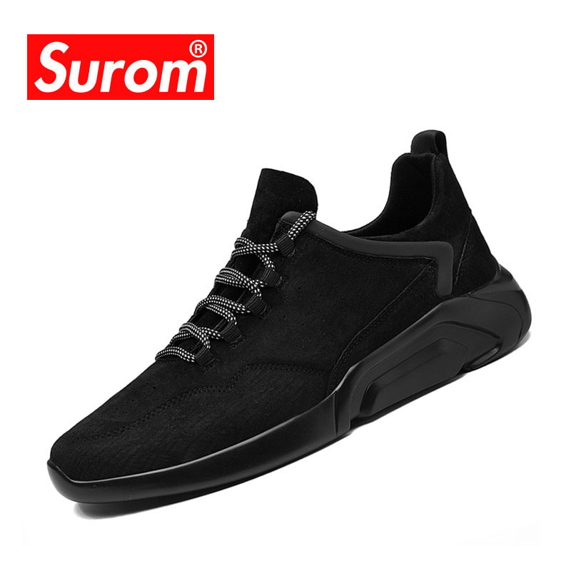 SUROM Men's Shoes Casual 2018 New Spring Platform Black Color Sneakers Fashion human race trainers Male Tenis Footwear