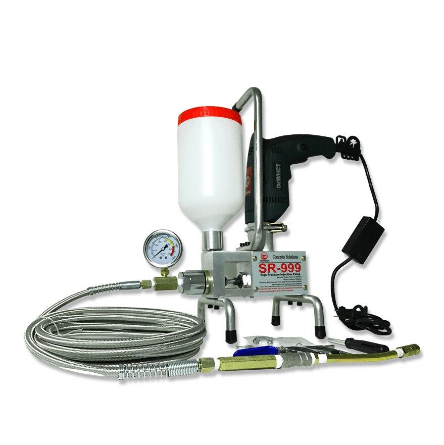 TOP époxy injection pompe Époxy/Polyuréthane mousse Injection Machine SANS FIL À DISTANCE et EN ACIER TUYAU béton réparation fissure