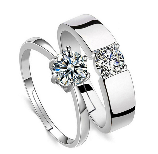 Anenjery Classic Lovers' Wedding Rings Zircon CZ 925 Sterling Silver Rings For M