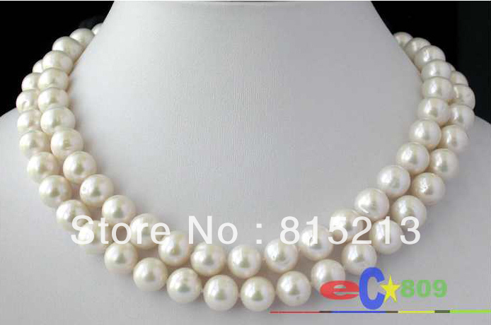 """Charming Natural 11-12mm white coin freshwater pearl necklace 48/"""" AA"""