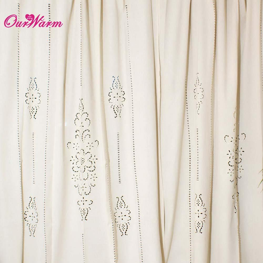 Window Tab Top Curtain French Country Cotton Linen Crochet Lace Panel Drape