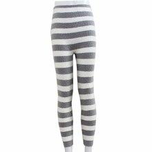 Напрямую от производителя мягкие полосатые теплые леггинсы Высокая талия уход живот утолщение физиологические длинные пижамы брюки не линяют Хай