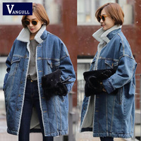 Vangull Fur Warm Winter Denim Jacket Women 2019 New Fashion Autumn Wool Lining Jeans Coat Women Bomber Jackets Casaco Feminino