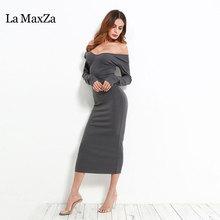 La MaxZa Women Strapless Dress 2018 Long Sleeve Spring New Arrivals Sexy Slash Neck Vestido Bodycon Bandage Dress Club Party