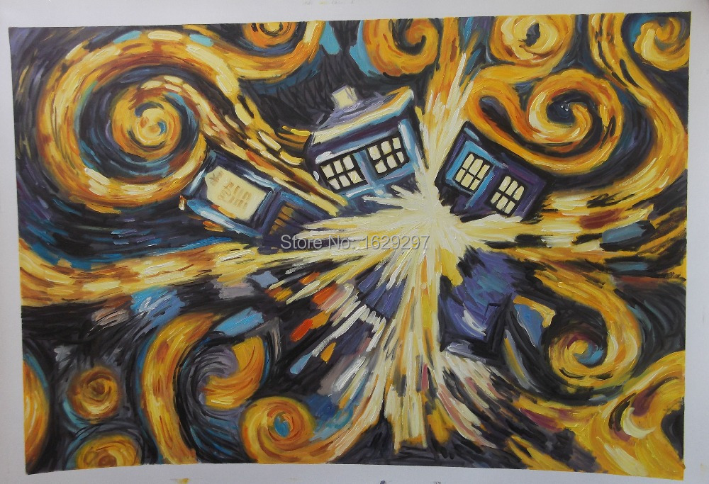 High quality Doctor Who Exploding Tardis oil painting on canvas for sale Hand painted Abstract Art Reproduction