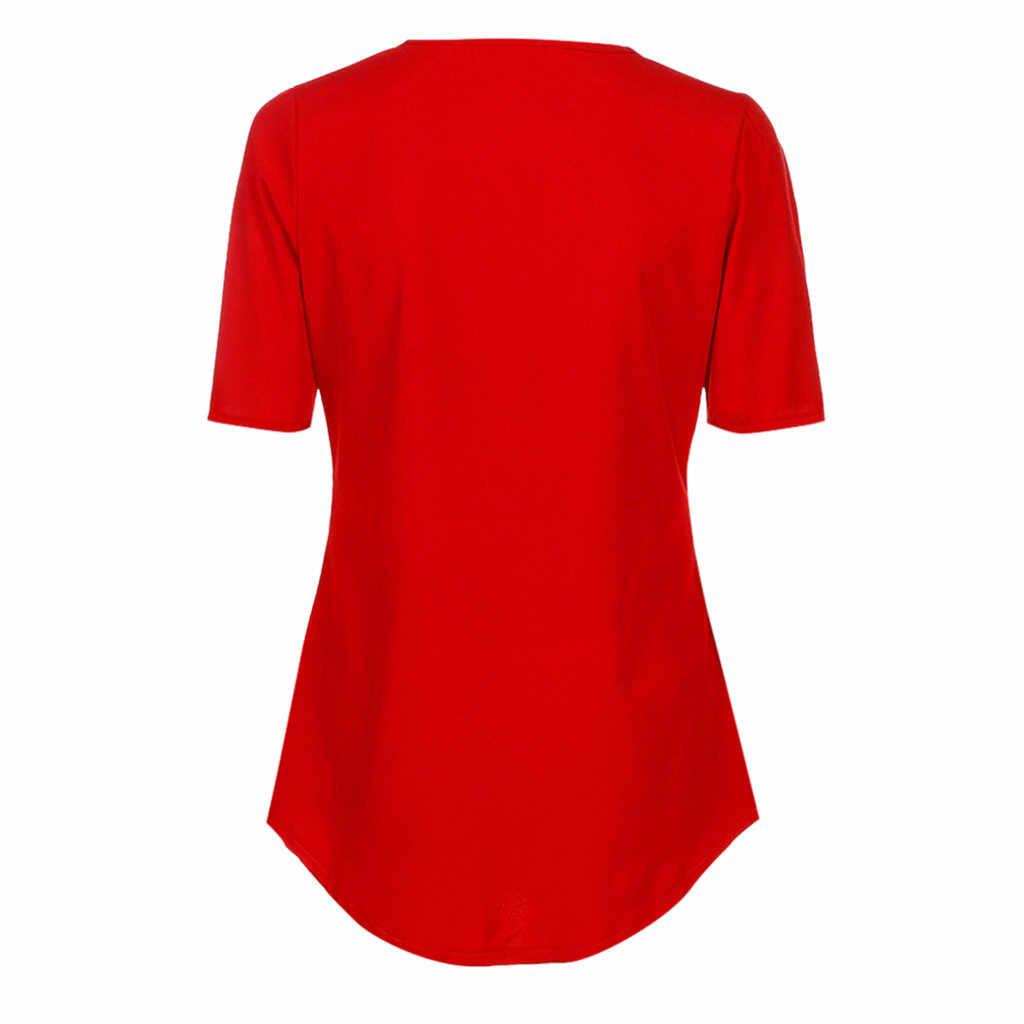 女性のカジュアルな夏トップシャツレディース V ネックジッパールーズ Tシャツ Tシャツトップ女性のファッション半袖トップ vestidos mujer verano に