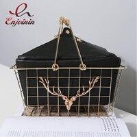 New High Quality Fashion Personality Metal Basket Style Black Pu Leather Ladies Handbag Totes Party Punk