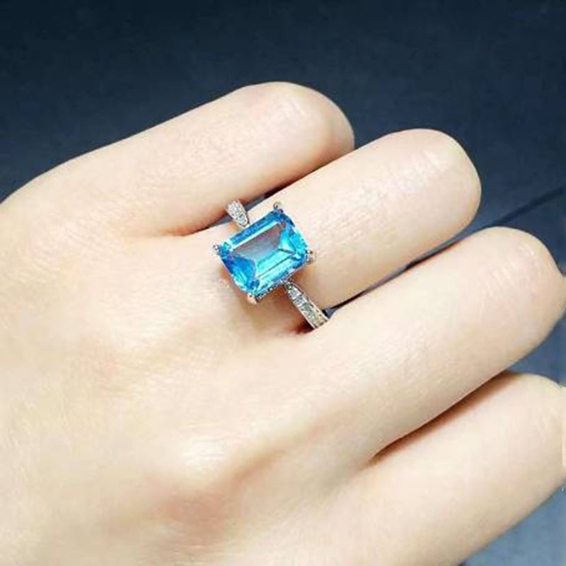 купить Anillos Qi Xuan_Blue Stone Fashion Jewelry Rings_Finger Rings_S925 Solid Silver Fashion Blue Ring_Manufacturer Directly Sales онлайн