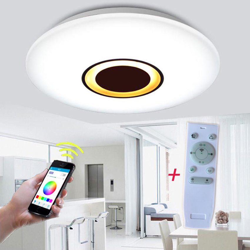 dimmable rf wireless remote app control music bluetooth led ceiling light musik deckenleuchte. Black Bedroom Furniture Sets. Home Design Ideas