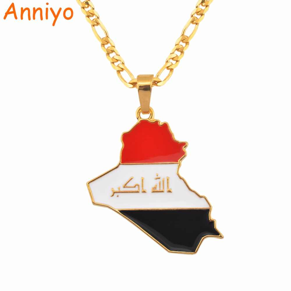 Anniyo Republic Of Iraq Map Flag Pendant Necklace for Women/Men Gold Color Jewelry Maps of Iraq Necklaces #116606