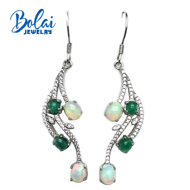 bolaijewelry,feather Hook party earring natural oapl and emerald gemstone in 925 sterling silver women or girls wear best gift bolaijewelry natural emerald pendant or necklace and ring and earring jewelry set 925 sterling silver for women anniversary gift